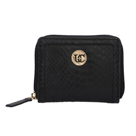 100% Genuine Leather RFID Black Wallet with Zipper Closure