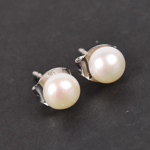 9K White Gold Freshwater Pearl Stud Earrings (with Push Back)