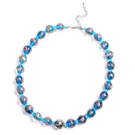 Blue  Colour Murano  Style  Glass and Simulated Blue Sapphire Necklace (Size 20 with 3 inch Extender