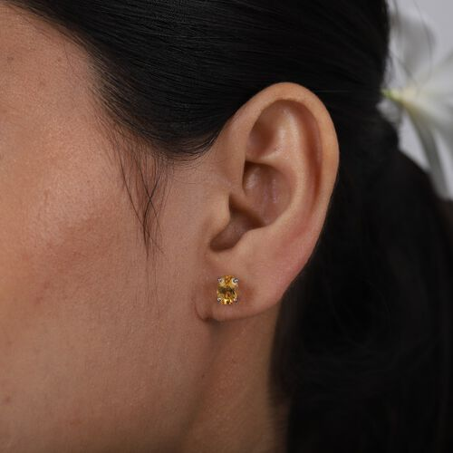 Citrine Earring in Platinum Overlay Sterling Silver 1.50 ct  1.500  Ct.