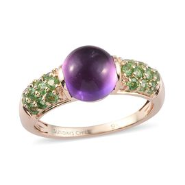 Sundays Child - 9K Y Gold AAAA Zambian Amethyst and Tsavorite Garnet Ring 3.00 Ct.