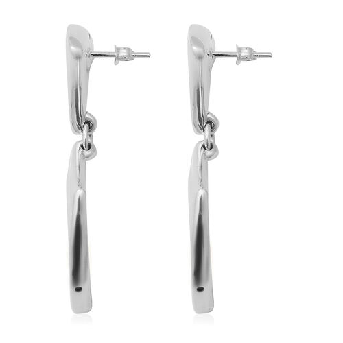 One Time Close Out Deal- Sterling Silver Drop Earrings (with Push Back), Silver wt 9.50 Gms