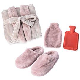 3 Piece Set - Faux Fur Fluffy Bathrobe (L-110 Cm) , Slipper (L-26 Cm) and Hot Water Bottle with Cove