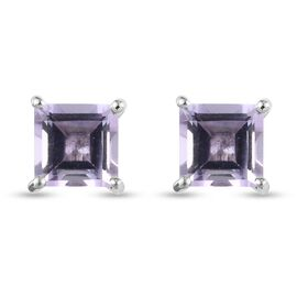 Pink Amethyst Solitaire Stud Push Post Earring in Platinum Overlay Sterling Silver 1.70 ct  1.700  C