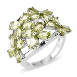 4.75 Ct Hebei Peridot Cluster Floral Ring in Rhodium Plated Sterling Silver 4.78 Grams