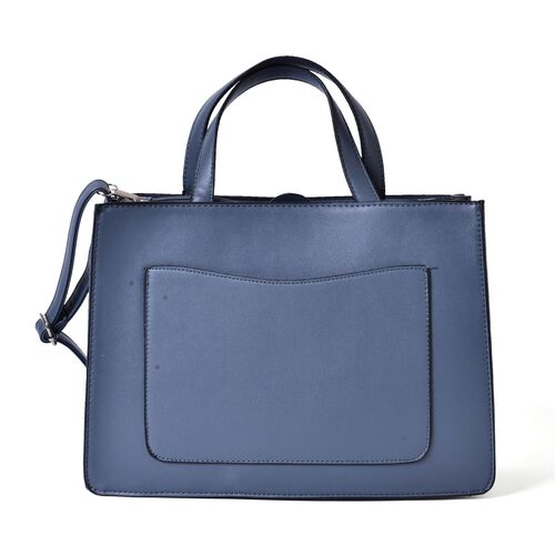 Black and Blue Colour Tote Bag With Adjustable and Removable Shoulder Strap (Size 34.5x24x12.5 Cm)