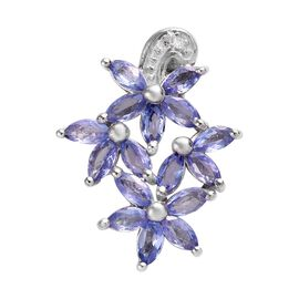 Tanzanite and Diamond Floral Pendant in Platinum Plated Sterling Silver 1.01 Ct