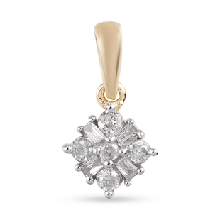 9K Yellow Gold and SGL Certified White Diamond (I3/ G-H) Pendant 0.20 Ct.