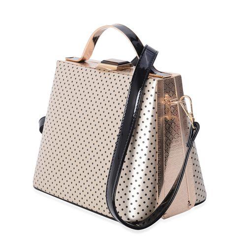Boutique Collection Vintage Style Polka Dot Golden Colour Handbag with Removable Shoulder Strap (Size 22x18x14 Cm)