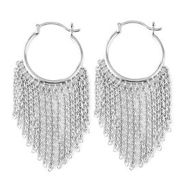Super Auction- LucyQ Rhodium Overlay Sterling Silver Earrings (with Clasp), Silver wt 9.74 Gms