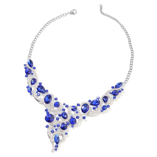 2 Piece Set - Simulated Blue Sapphire, White and Blue Austrian Crystal Necklace (Size 18 with 3 Extender) and Earrings (with Push Back) in Silver Plated