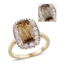 ILIANA 18K Y Gold Turkizite (Cush 3.65 Ct), Diamond Ring 4.400 Ct.