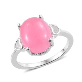 Pink Jade (Ovl 11x9 mm) Ring in Sterling Silver 4.250 Ct.