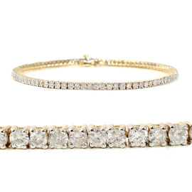 9K Yellow Gold EGL Certified Diamond (Rnd) (I1-I2/G-H) Tennis Bracelet (Size 7.25) 3.01 Ct, Gold wt