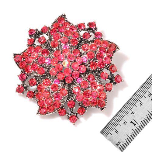 Rose Austrian Crystal Floral Brooch in Silver Tone