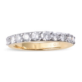14K Yellow Gold (I2/G-H) Diamond (Rnd) Half Eternity Band Ring 1.000 Ct.