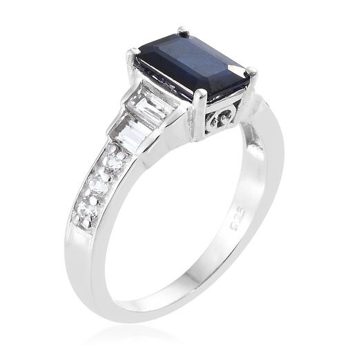 Designer Inspired Very Rare Blue Spinel (Oct 8x6mm), White Topaz Ring in Platinum Overlay Sterling Silver 2.000 Ct.