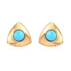 1 Ct Arizona Sleeping Beauty Turquoise Stud Solitaire Earrings in Gold Plated Sterling Silver