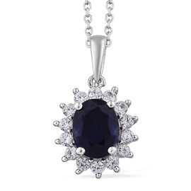 4.4 Ct Fissure Filled Blue Sapphire and Cambodian Zircon Halo Pendant with Chain in Sterling Silver