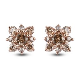 9K Rose Gold  Champagne Diamond Solitaire Stud Push Post Earring in Rhodium Overlay 0.47 ct,  Gold W