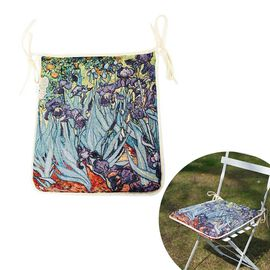 Signare Tapestry Seat Cushion - Irises by Vincent van Gogh (34x37cm)