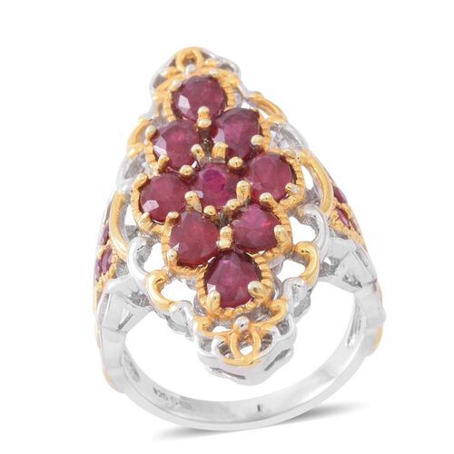 African Ruby (Ovl), Burmese Ruby Ring in Rhodium and Gold Overlay Sterling Silver 5.000 Ct.