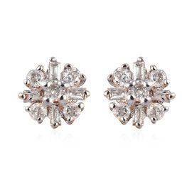Diamond Cluster Stud Earrings in 9K Yellow Gold