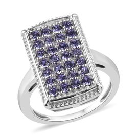 J Francis Tanzanite Colour Crystal from Swarovski Cluster Ring in Platinum Plated