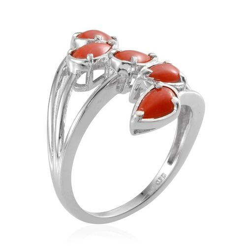 Natural Mediterranean Coral (Pear 7x4 mm) Ring in Platinum Overlay Sterling Silver 2.000 Ct.