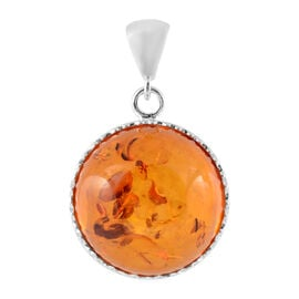 Super Auction- Baltic Amber (Rnd) Pendant in Sterling Silver, Silver wt 8.00 Gms