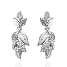 Diamond (Rnd) Leaf Earrings (with Push Back) in Platinum Overlay Sterling Silver 0.34 Ct.