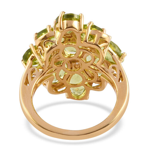 AA Hebei Peridot, Natural Cambodian Zircon Cluster Ring in 14K Gold Overlay Sterling Silver 8.00 Ct, Silver wt 5.15 Gms