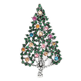 Christmas Special- Green and Multi Austrian Crystal Christmas Tree Brooch in Silver Tone