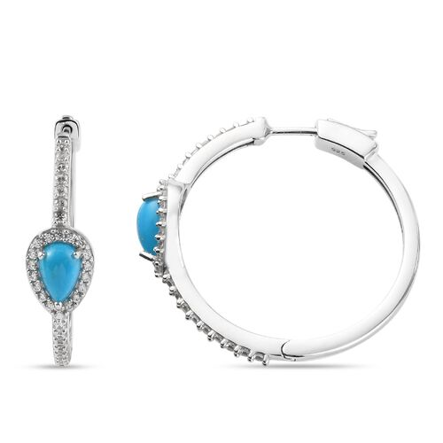 Arizona Sleeping Beauty Turquoise and Natural Cambodian Zircon Hoop Earrings (with Claps) in Platinum Overlay Sterling Silver 2.63 Ct.