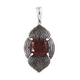 Finch Quartz (Cush 10x10 mm), Black Diamond Pendant in Platinum Overlay and Black Plating Sterling S