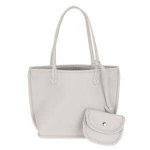 3 Piece Set - Kris Ana Reversible Tote Bag, Clutch Bag & Coin Purse - Light Grey and Silver (Navigation Fashion Accessories Handbags) photo