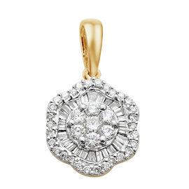 ILIANA 18K Yellow Gold IGI Certified Diamond (Bgt and Rnd) (SI/G-H) Pendant 0.500 Ct.
