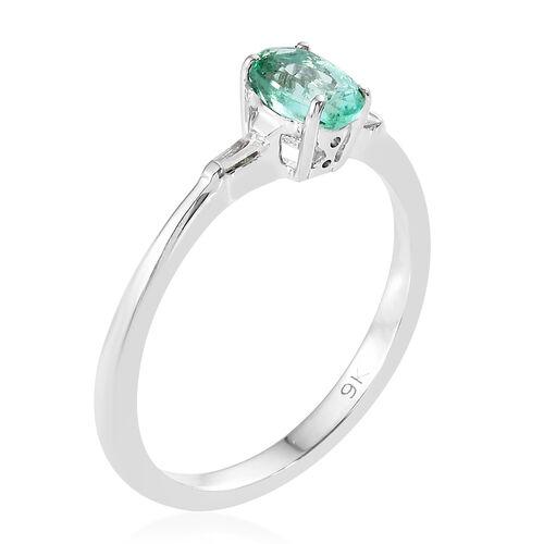 AA Boyaca Colombian Emerald (Ovl), Diamond 9K W Gold Ring 0.500  Ct.