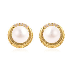 Edison Pearl and Natural Cambodian Zircon Stud Earrings in Yellow Gold Overlay Sterling Silver