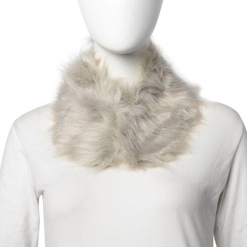 3 Piece Set - Faux Fur Hat, Scarf and Cuff Bracelet - Grey