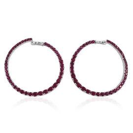 8.52 Ct Burmese Ruby Hoop Earrings in Platinum Plated Silver 16 grams