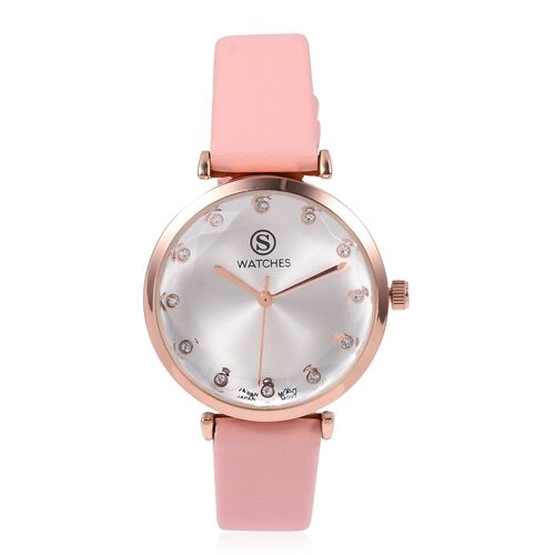 STRADA Japanese Movement White Austrian Crystal Studded Water Resistant Watch in Rose Gold Tone with Pink Strap