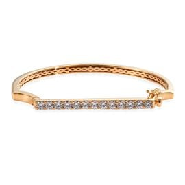 J Francis Swarovski Zirconia Art Deco Inspired Bangle in Gold Plated Silver 25.5 Grams 7.75 Inch