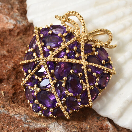 GP Amethyst (Ovl), White Topaz and Kanchanaburi Blue Sapphire Pendant in 14K Gold Overlay Sterling Silver 7.250 Ct. Silver wt 7.93 Gms.