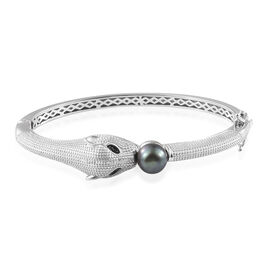 Freshwater Peacock Pearl (10 mm), Boi Ploi Black Spinel Panther Bangle (Size 7.5) in Platinum Plated 5.750 Ct.