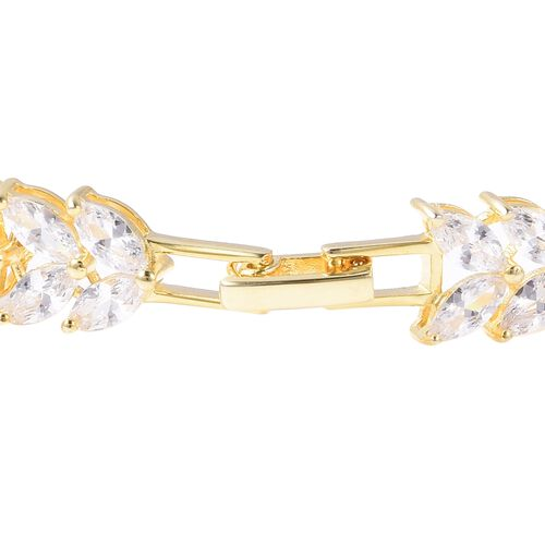 Lustro Stella Simulated Diamond (Mrq) Leafy Vine Bracelet (Size 7.5) in Yellow Gold Overlay Sterling Silver, Silver wt 12.51 Gms