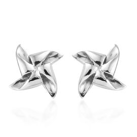 Plating Overlay Sterling Silver Pinwheel Stud Earrings (With Push Back)