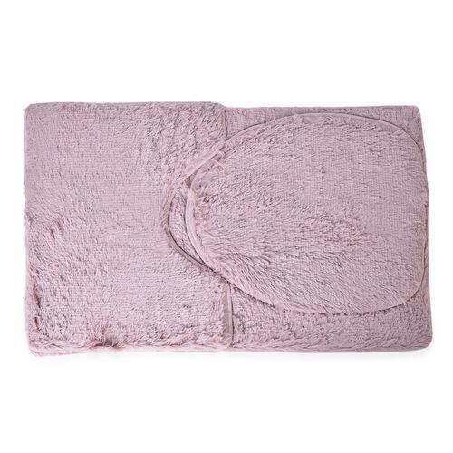 Light Brown Colour Faux Fur Bathmat (Size 80X50 Cm), Toilet Cover (Size 45X40 Cm) and Contour Mat (Size 50X40 Cm) with Anti Slip Rubber at Back