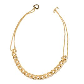 ION Plated Yellow Gold Stainless Steel Curb Necklace (Size 20) with Heart and Anchor Charm