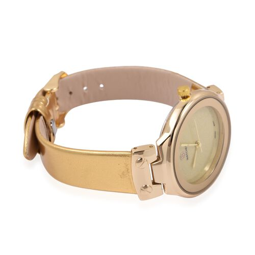 STRADA Japanese Movement Water Resistant Watch with Golden Colour Strap